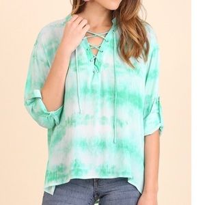 Tops - Tie Dye Lace Up Top White Mint Roll Up SleeveS/M/L